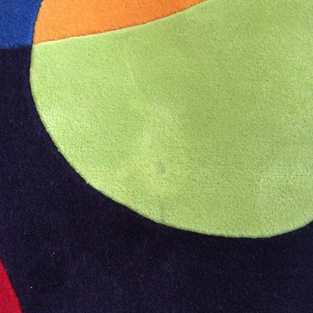 Vintage Op Art Hand Tufted Wool Rug -- 7' x 7' - Image 9 of 9