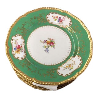 19C Antique Cauldon Porcelain Plates w Green Border - Set of 8