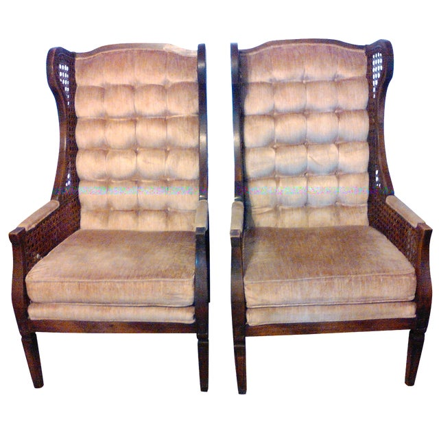 Lewittes High Wingback Chairs, Cane Sides - Pair - Image 1 of 11