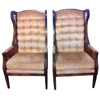 Lewittes High Wingback Chairs, Cane Sides - Pair