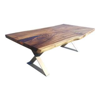 "Solid Slab Acacia Wood, Live Edge Dining Table -- 87"""