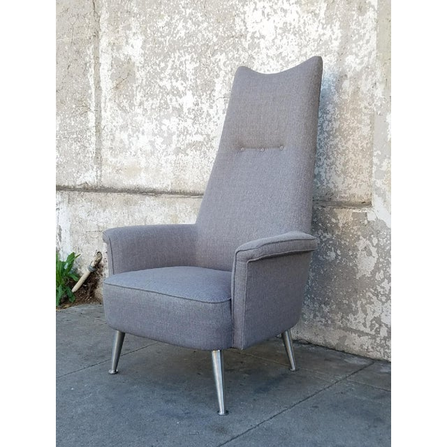 Mid Century Grey Tall Back Lounge Chair - Image 4 of 5