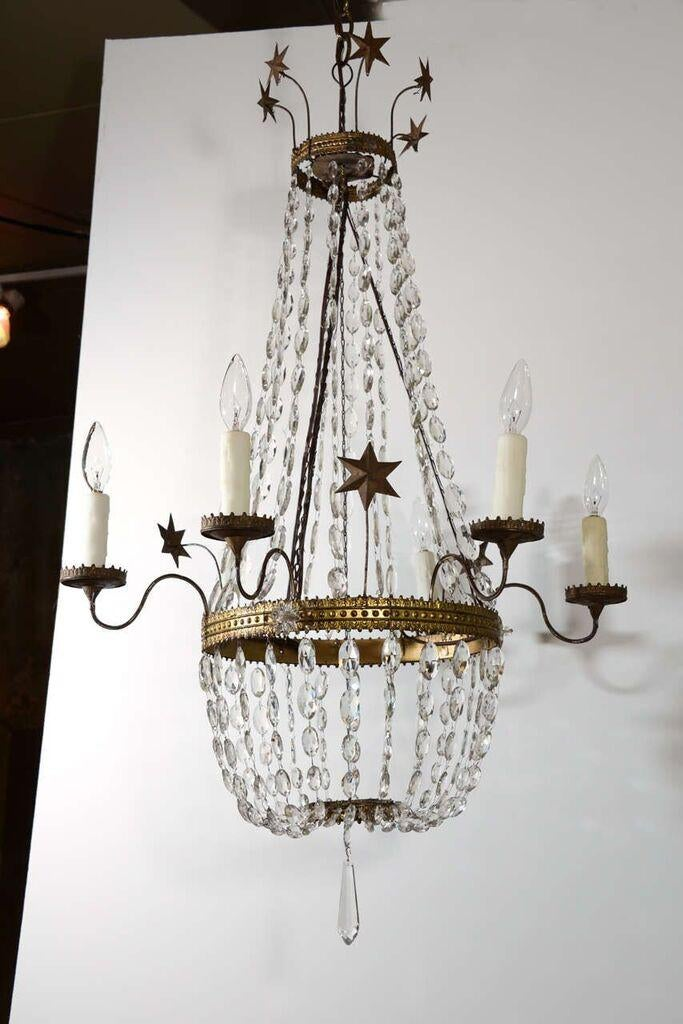 World Class Italian Tole And Crystal Chandelier Decaso