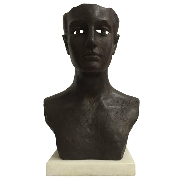 Modernist Male Bust Bronze Sculpture - Image 1 of 11