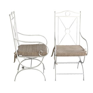 White Wrought Iron Patio Chairs - a Pair