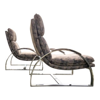 Milo Baughman Style Chrome Scoop Chairs - A Pair