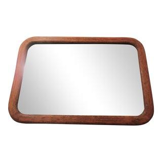 Antique Oak Framed Beveled Mirror