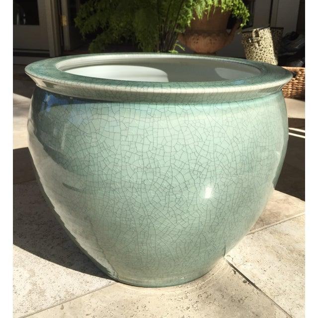 Celadon Crackle Glaze Fish Bowl Planters - Pair - Image 4 of 7