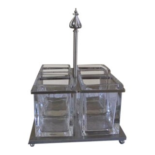 Glass & Silver Metal Flatware Caddy