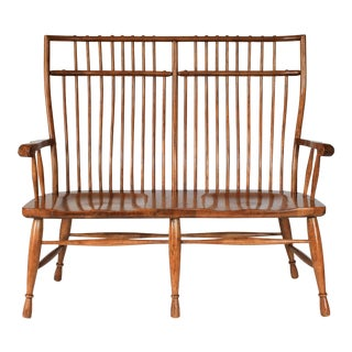 High Back Solid Oak Bench