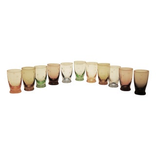 Multi-Colored Cut Glass Shot Glasses - S/11
