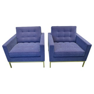 Florence Knoll Blue Lounge Chairs  - Pair