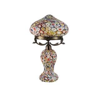 Circa 1940 Murano Millefiori Art Glass & Brass Mounted Table Lamp