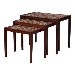 Rosewood & Tile Danish Modern Nesting Tables - Set of 3