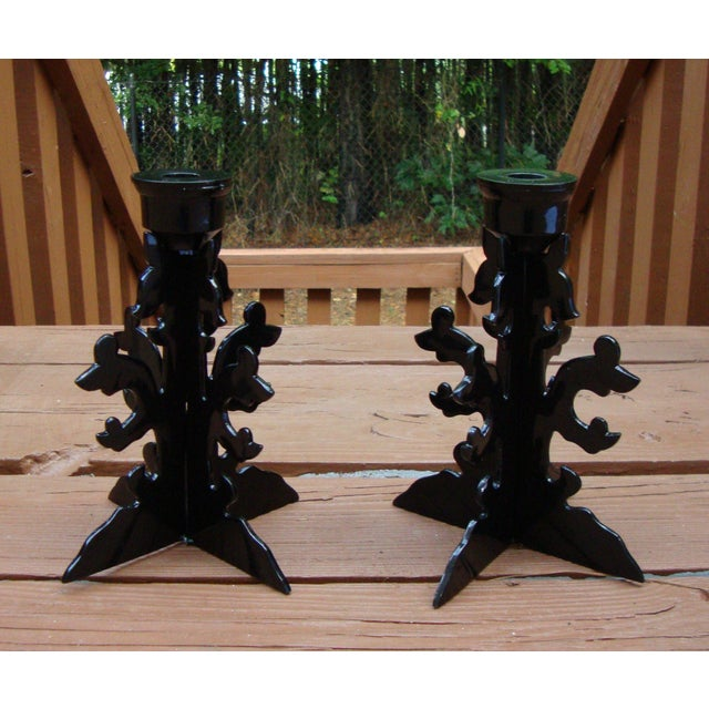 Modern Goth Black Metal Candle Holders - Image 7 of 10