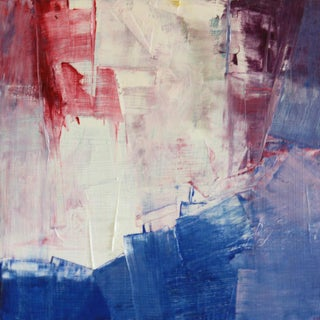 Paul Ashby Red, Purple, Blue & White Abstract Painting