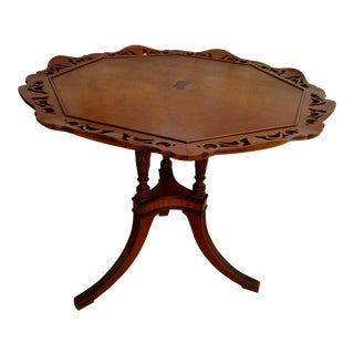 1920s Robert W. Irwin Co. Chippendale Style Pierced Pie Crust Tea Table