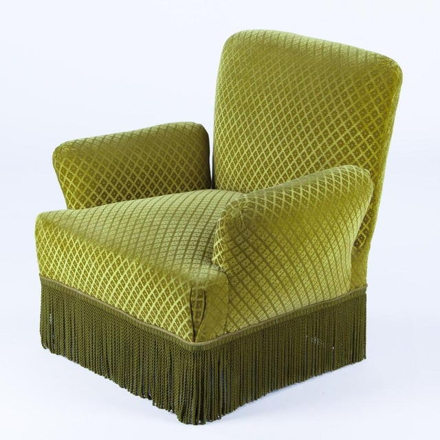1940s French Green Upholstered Armchairs - A Pair - Image 5 of 10