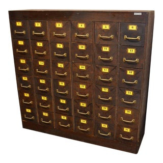 Storage / File Catalog with 36 Numbered Drawers with Brass Pulls