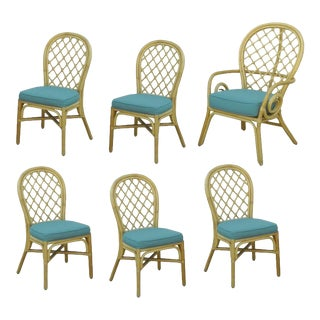 Vintage Hollywood Regency Rattan Bamboo Sunroom Dining Chairs - Set 6