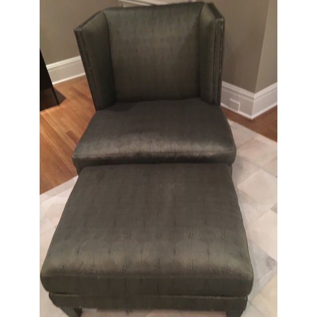 Deep Olive Toned Lee Chair and Ottoman - Image 2 of 8