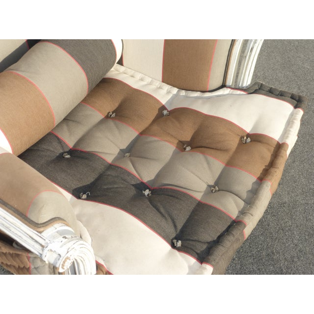 French Provincial Striped Upholstery Arm Chair - Image 7 of 11