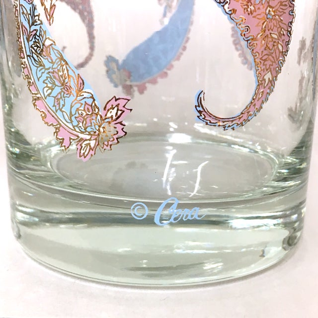 Vintage Cera Pastel Paisley Rocks Glasses - Set of 4 - Image 4 of 5