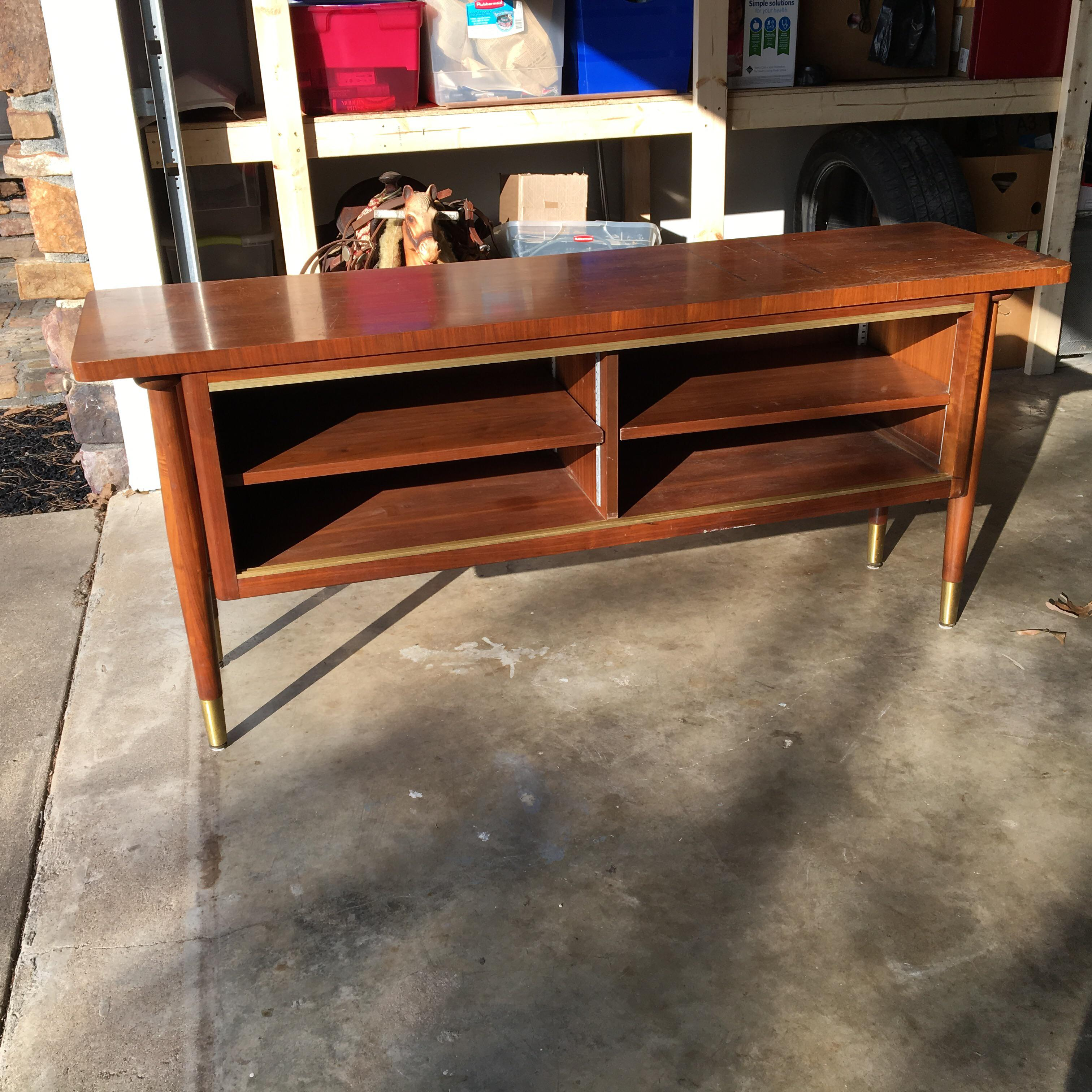 midcentury modern credenza buffet console floating top legs image 3 of 10