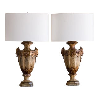 Classical Motif Vintage Ceramic Urns, Italy c.1930, Mounted as Lamps