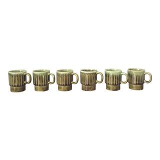Mid-Century Glazed Ceramic Mugs - Set of 6
