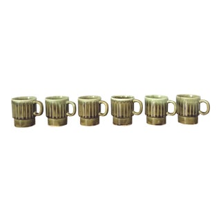 Mid-Century Glazed Ceramic Mugs - Set of 6