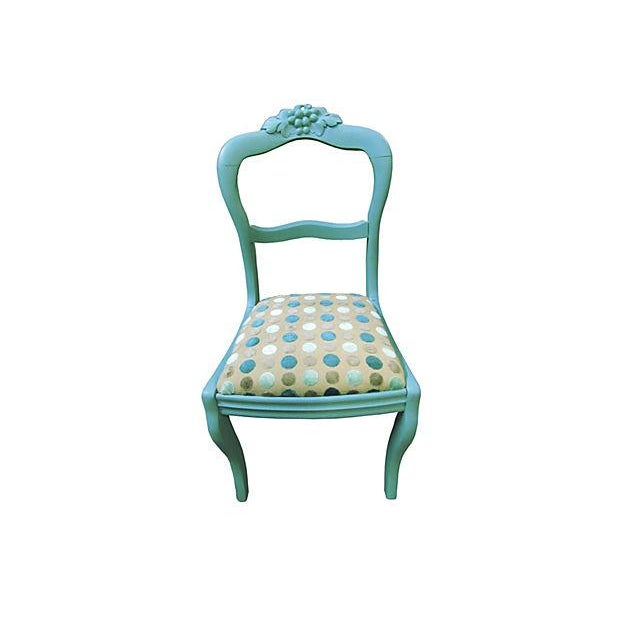 Image of Antique Teal Carved Paris Dining Chairs - a Pair