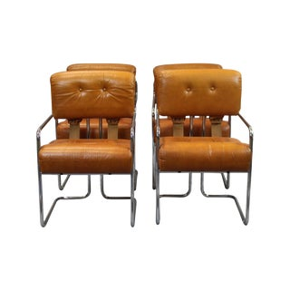 Guido Faleschini Leather & Chrome Armchairs - Set of 4