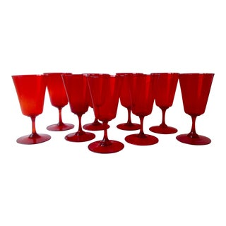 Mid-Century Ruby Red Blown Crystal Goblets - Set of 9