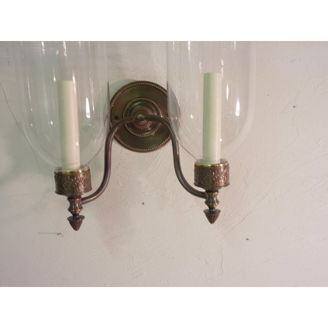 Sconces With Glass Shades - A Pair - Image 3 of 4