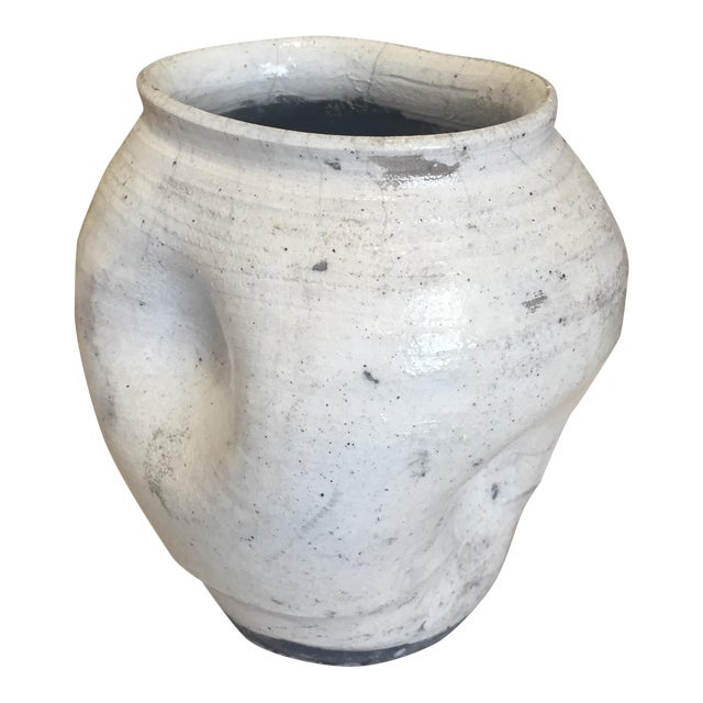 Vintage White Raku Pot Planter - Image 1 of 7