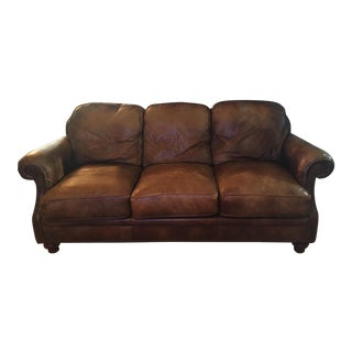 Traditional Brown Leather Three Seater Sofa