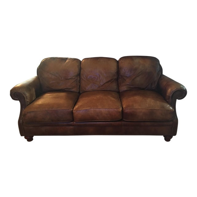 Traditional brown leather three seater sofa chairish for Traditional brown leather couch