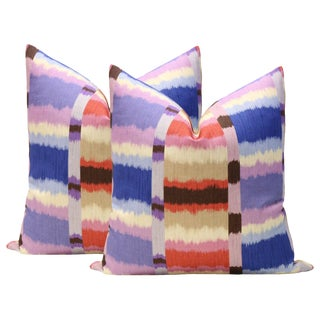"22"" Calypso Madras Linen Print Pillows - A Pair"