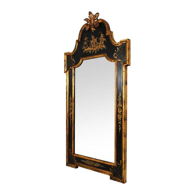 Image of Vintage Black & Gold Chinoiserie Mirror