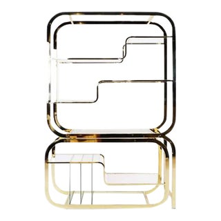 Milo Baughman Brass and Glass Adjustable Width Etagere, Excellent