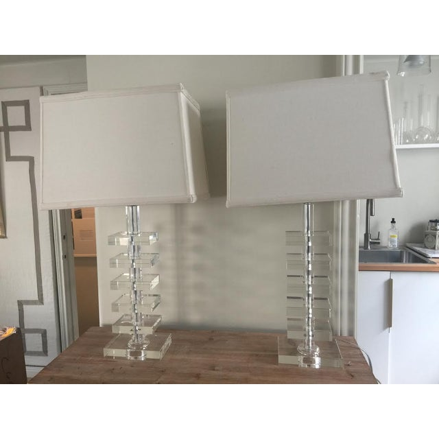 Glass Square Column Table Lamps - A Pair - Image 2 of 8