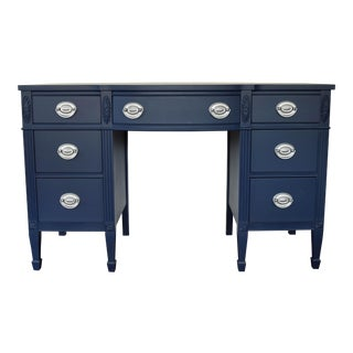 Navy Blue & Silver Desk