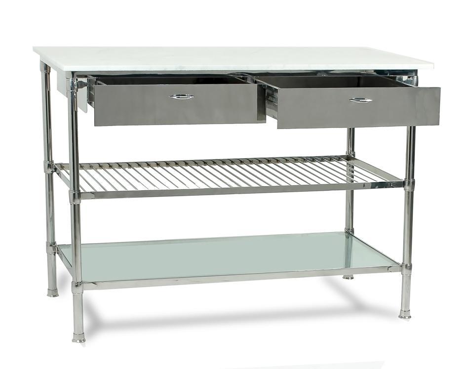 Kitchen Prep Table With Marble Top   Sarreid Ltd Chef Kitchen Prep Table  Chairish