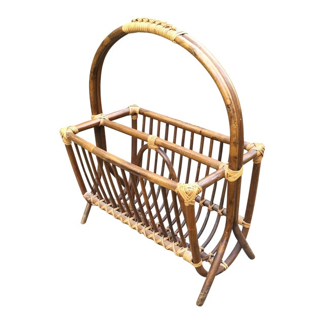 Vintage Rattan Bentwood Magazine Caddy - Image 1 of 6
