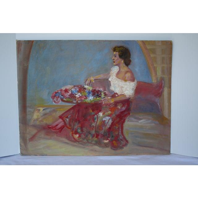 Image of Vintage Lady Portrait Oil Painting
