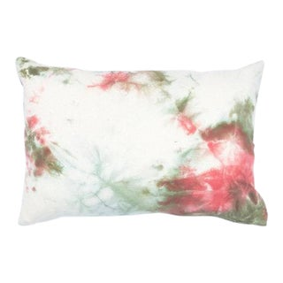 "Green 7 Coral Hand Dyed Shibori Marbled Pillow Cover - 14"" x 20"""