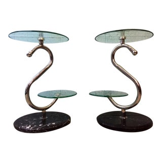 Chrome & Marble Two Tier Stands - A Pair