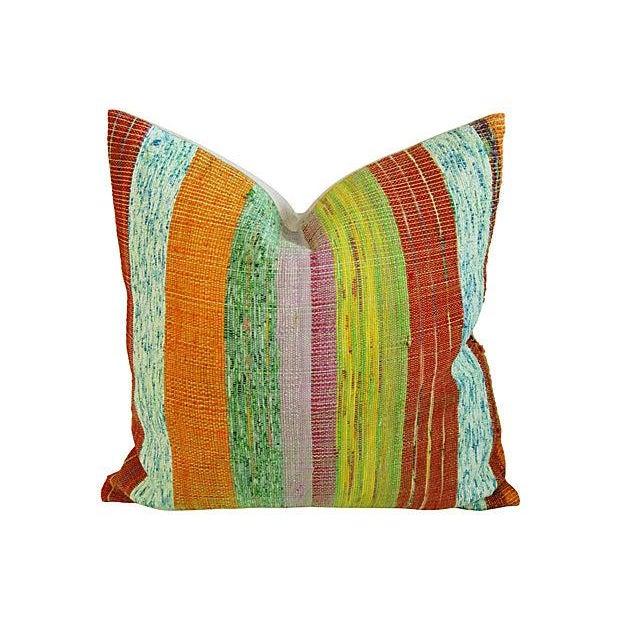 Custom Hand-Looped/Tufted Chindi Pillows - a Pair - Image 3 of 6