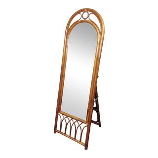 Vintage Bamboo Cane Full Length Floor Dressing Mirror